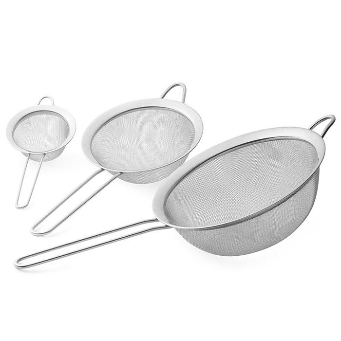 Set de 3 passoires inox patisserie cuisine for Set cuisine inox