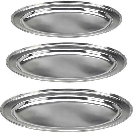 Plateau inox ovale 3 plateaux de cuisine ovales pour service for Plateau en inox cuisine