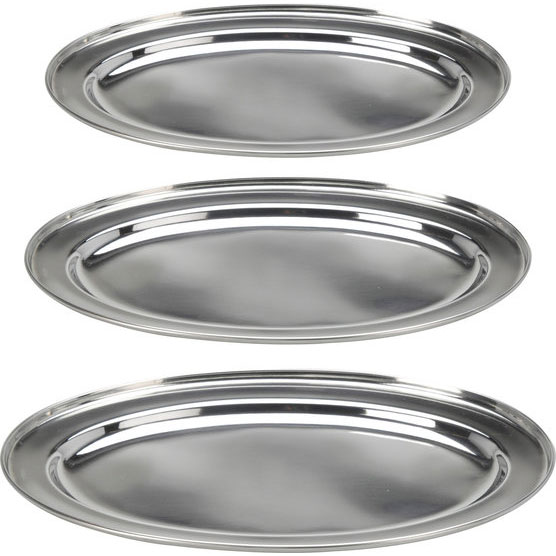 Plateau inox ovale 3 plateaux de cuisine ovales pour service for Plateau cuisine inox