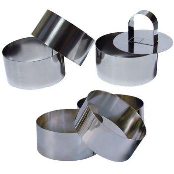 6 Cercles de Présentation Inox avec Poussoir - 8 cm