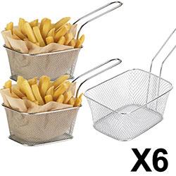 Lot de 6 Paniers à Frites Individuels 14x11x7 cm