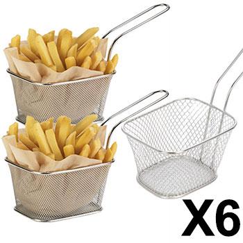 Lot de 6 Minis Paniers à Frites Individuels 10x8x7 cm