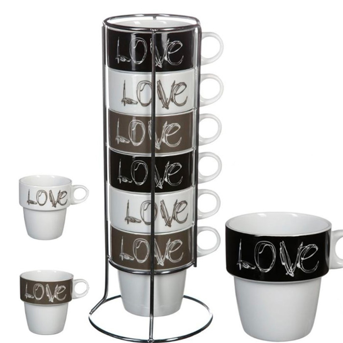 6 tasses caf love avec support art de la table cuisine. Black Bedroom Furniture Sets. Home Design Ideas