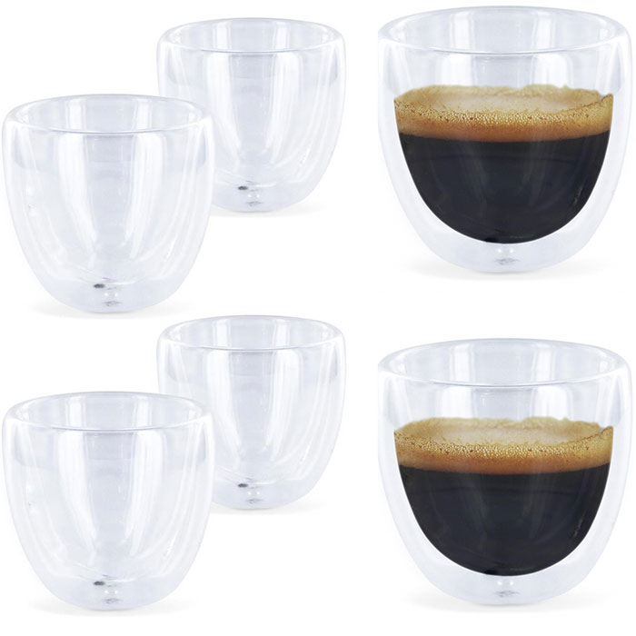 6 verres expresso design double paroi tasse caf. Black Bedroom Furniture Sets. Home Design Ideas