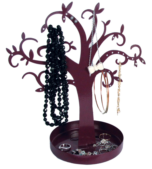 arbre porte bijoux en m tal pour boucles d 39 oreilles colliers. Black Bedroom Furniture Sets. Home Design Ideas