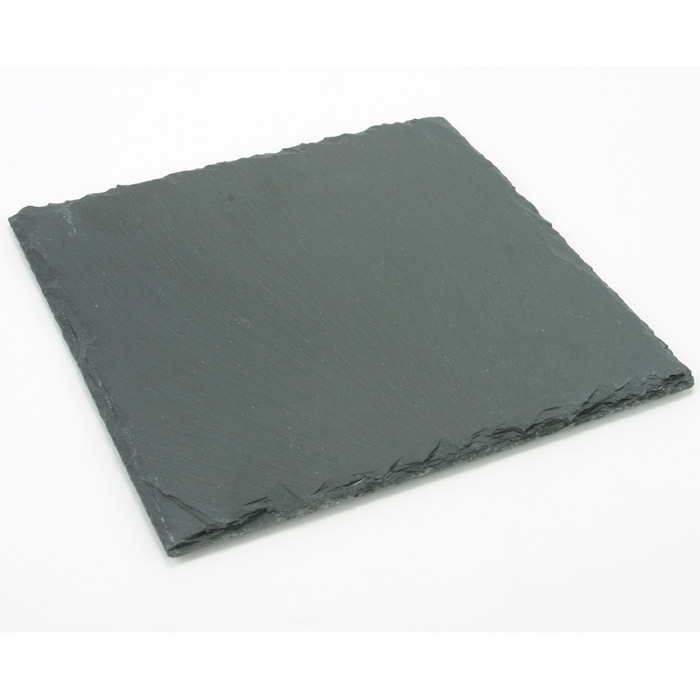 6 assiettes ardoises carr es noires. Black Bedroom Furniture Sets. Home Design Ideas