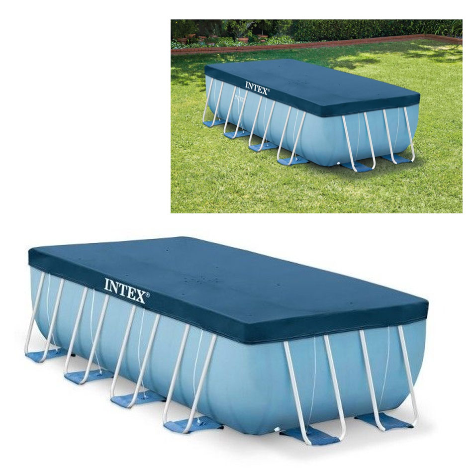 B che intex pour piscine rectangulaire intex 4 m x 2 m x 1 m for Bache pour piscine enterree