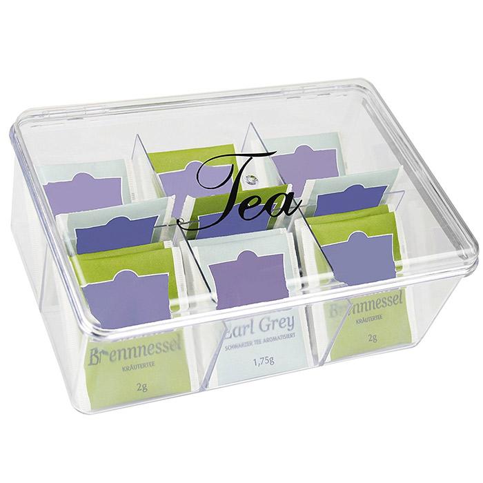 Boite th 6 compartiments en plastique pour rangement sachets de th - Boite a the 9 compartiments ...