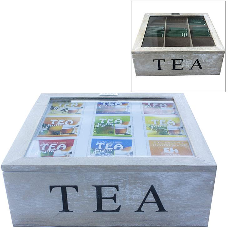 Boite th en bois 9 compartiments fen tre de visualisation ebay - Boite a the 9 compartiments ...