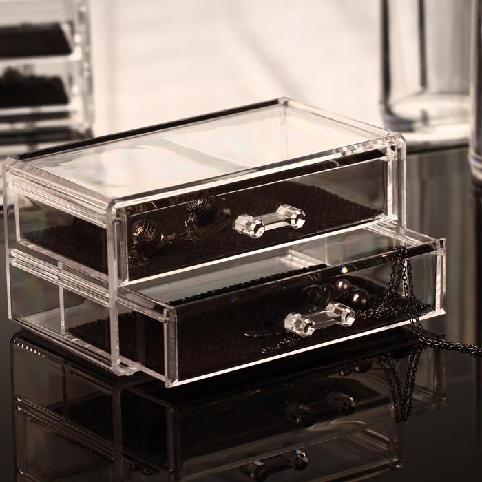 Boite A Bijoux Transparente : boite bijoux transparente 2 tiroirs ~ Teatrodelosmanantiales.com Idées de Décoration