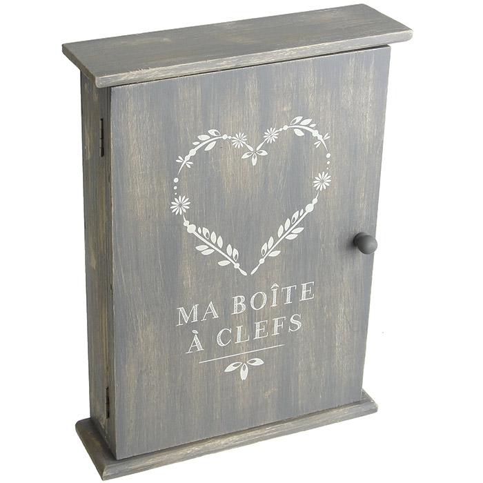 boite cl s en bois design vintage coeur. Black Bedroom Furniture Sets. Home Design Ideas