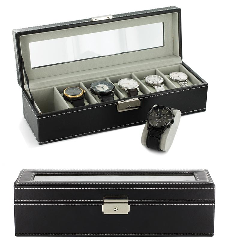 Coffret boite de rangement simili cuir pour 6 montres for Coffret de rangement couture