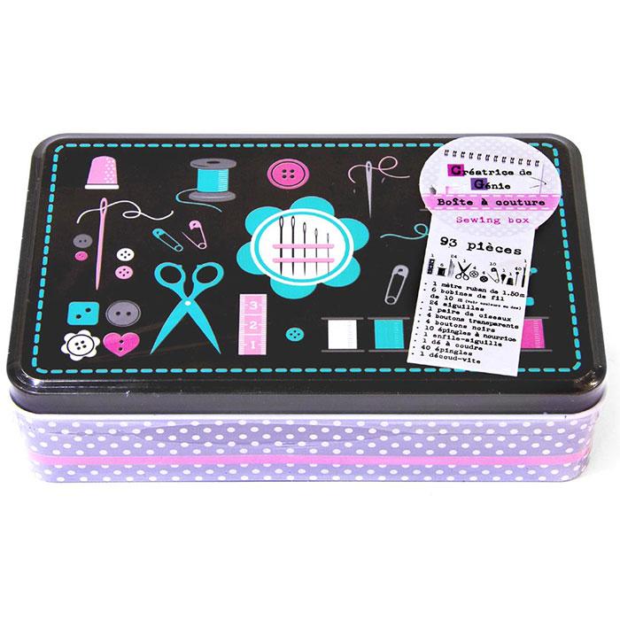 Kit de couture set de 93 pi ces avec boite en m tal for Boite a couture avec accessoires
