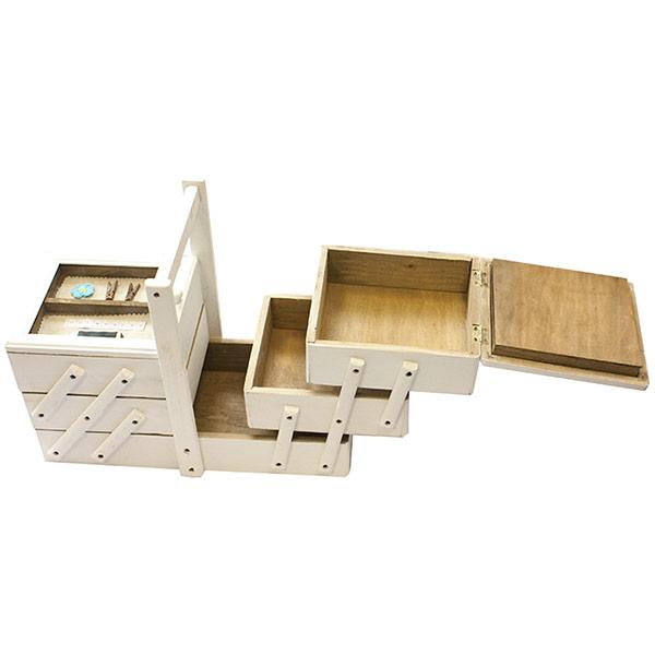 boite couture en bois compartiment e en escalier bois blanc. Black Bedroom Furniture Sets. Home Design Ideas