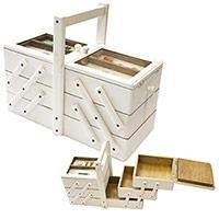 Boite couture compartiment e en bois blanc for Boite a couture design