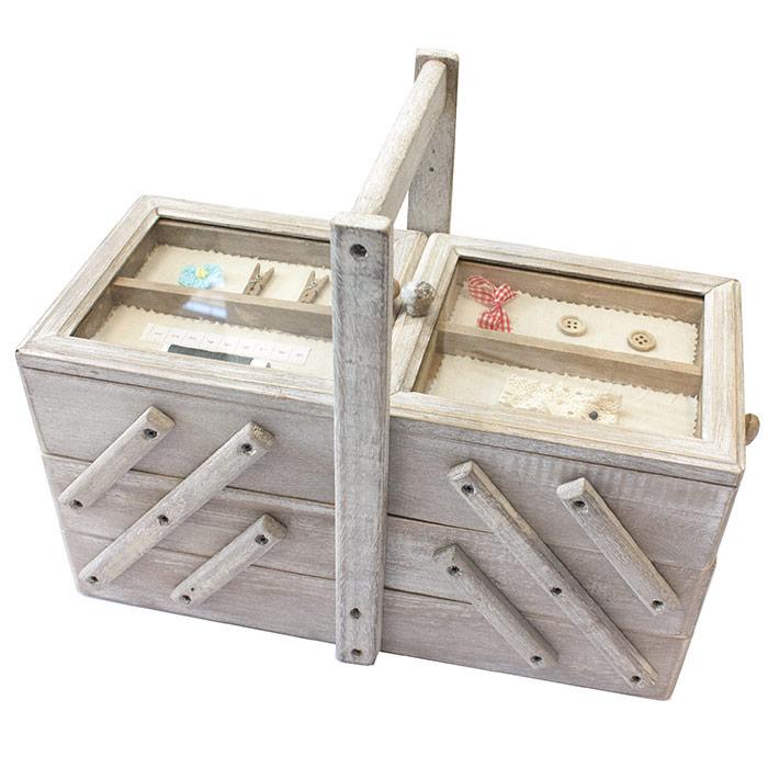 Boite couture style escaliers avec compartiments for Boite a couture en bois