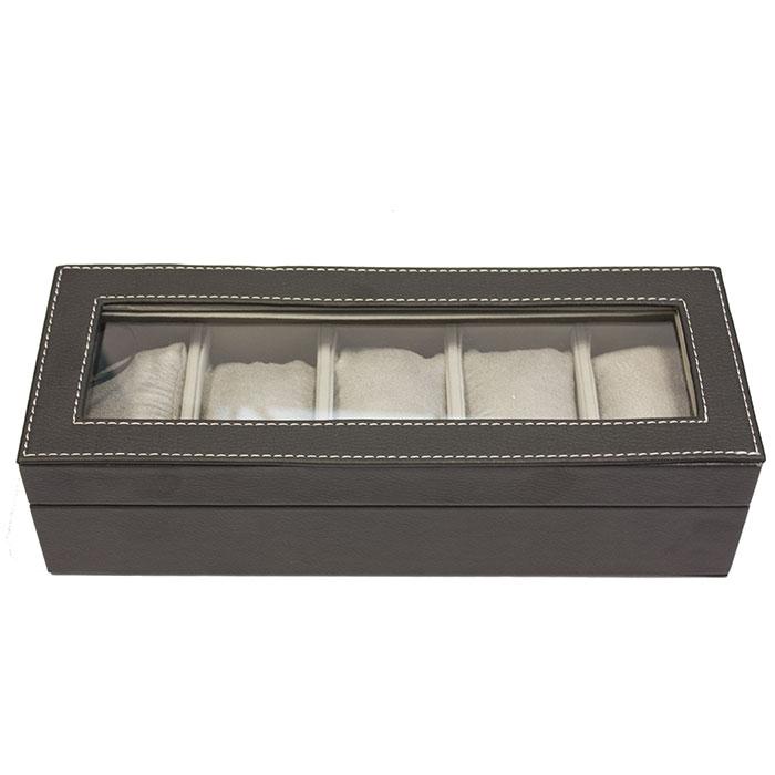 coffret boite de rangement simili cuir pour 5 montres. Black Bedroom Furniture Sets. Home Design Ideas