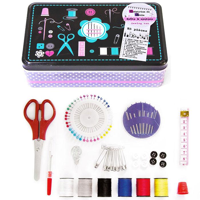 Kit de couture set de 93 pi ces avec boite en m tal for Kit boite a couture