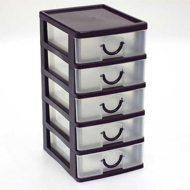 bloc coffret tour boite de rangement 5 tiroirs plastique. Black Bedroom Furniture Sets. Home Design Ideas