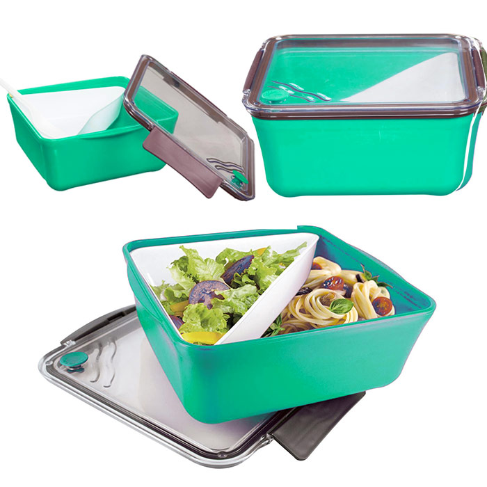 boite repas lunch box compartiment amovible fourchette vert ebay. Black Bedroom Furniture Sets. Home Design Ideas