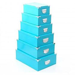 6 Boites de Rangement Bleu turquoise