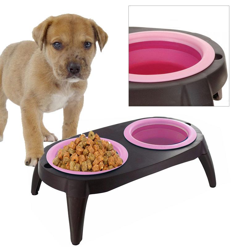 double gamelle bol pour chien et chat avec pieds fushia ebay. Black Bedroom Furniture Sets. Home Design Ideas