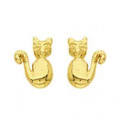 Boucles d'oreilles Petit Chat plaqué Or