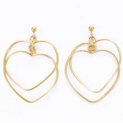 Boucles d'oreilles Double Coeur plaqué Or