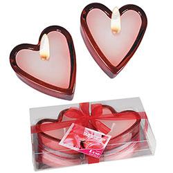 2 Bougeoirs Coeur en Verre avec Bougies Parfumées