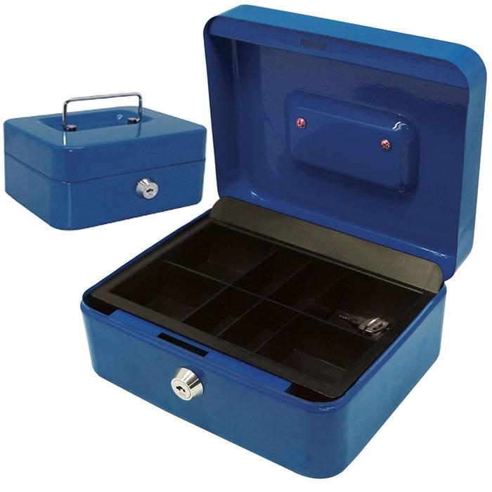 caisse monnaie et billets 20 cm fermeture cl pi ces et billets bleu ebay. Black Bedroom Furniture Sets. Home Design Ideas