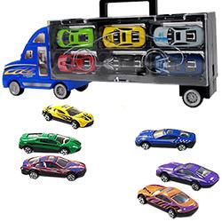 Camion de Transport avec 6 Voitures de Course