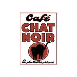 Carte Métal Café Chat Noir 15x21 cm