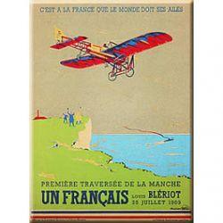 Carte Métal Traversée de la Manche Bleriot 15x21 cm