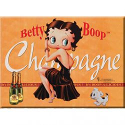 Carte Métal Betty Boop Champagne Orange 15x21 cm