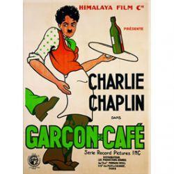 Carte Métal Charlie Chaplin Garçon de Café 15x21 cm