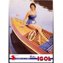 Carte Métal Femme en Barque Igol 15x21 cm