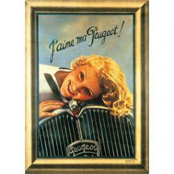 Carte Métal J'aime ma Peugeot 15x21 cm