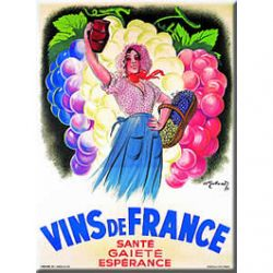 Carte Mtal Vins de France 15x21 cm