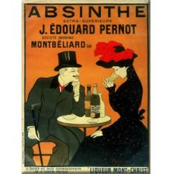 Plaque Mtal Absinthe Pernot 30x40 cm