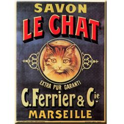 Carte Mtal Savon Le Chat 15x21 cm