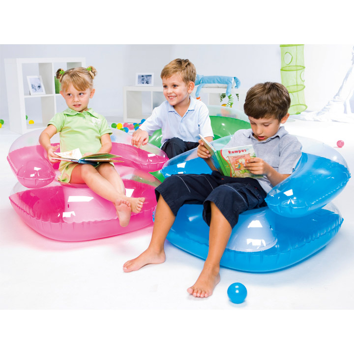 Chaise gonflable pour enfant vert fushia bleu assise for Chaise gonflable