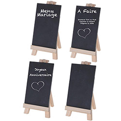 4 Minis Tableaux à Craie sur Chevalet