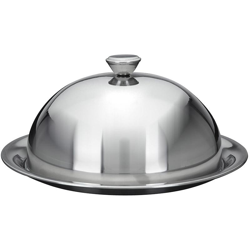 Cloche couvre assiette maitre d 39 hotel inox avec assiette - Cloche de cuisine ...