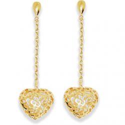 Boucles d'Oreilles Pendantes forme Coeur Plaqué Or