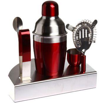 Coffret cocktail inox rouge avec shaker et accessoires for Cocktail 3 couleurs