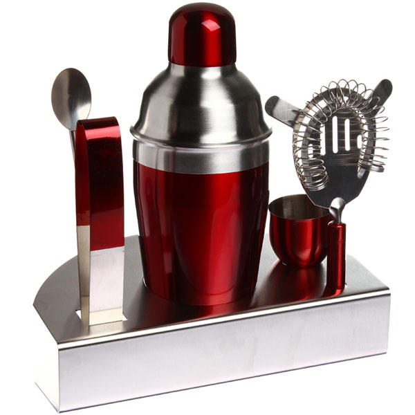 coffret cocktail inox rouge avec shaker et accessoires. Black Bedroom Furniture Sets. Home Design Ideas