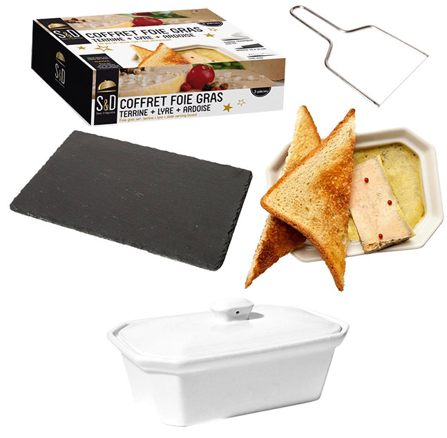 coffret foie gras avec lyre plateau ardoise terrine c ramique. Black Bedroom Furniture Sets. Home Design Ideas