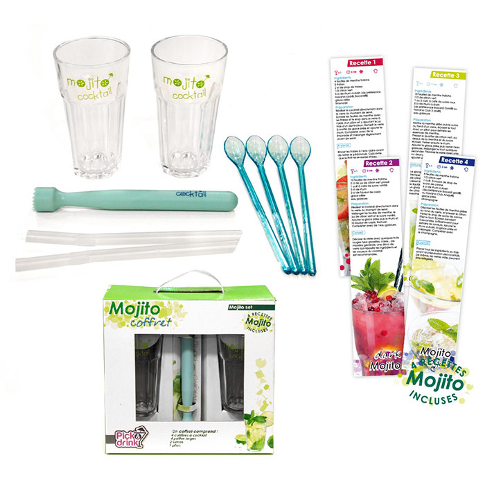 coffret mojito party avec 2 verres pailles pilon cuill res recettes. Black Bedroom Furniture Sets. Home Design Ideas