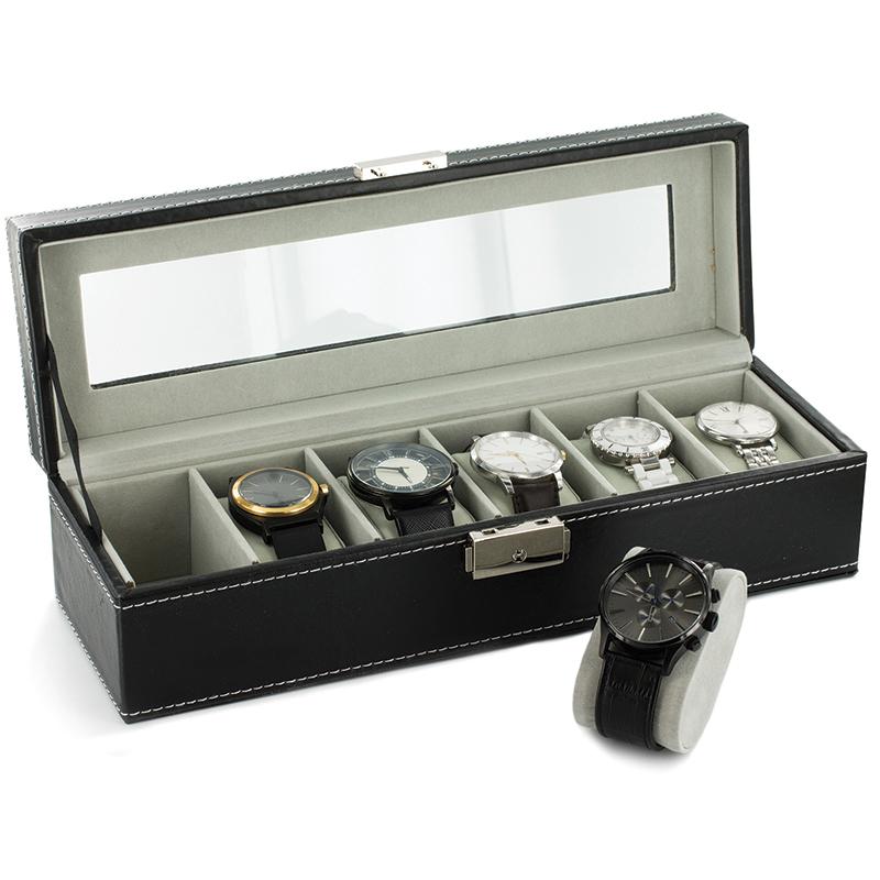 coffret boite de rangement simili cuir pour 6 montres. Black Bedroom Furniture Sets. Home Design Ideas