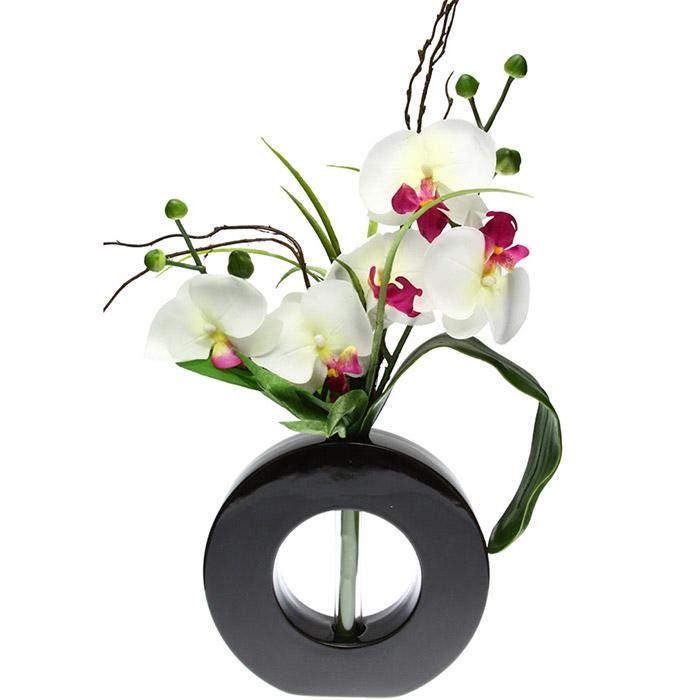 composition florale artificielle orchid e avec vase en c ramique. Black Bedroom Furniture Sets. Home Design Ideas